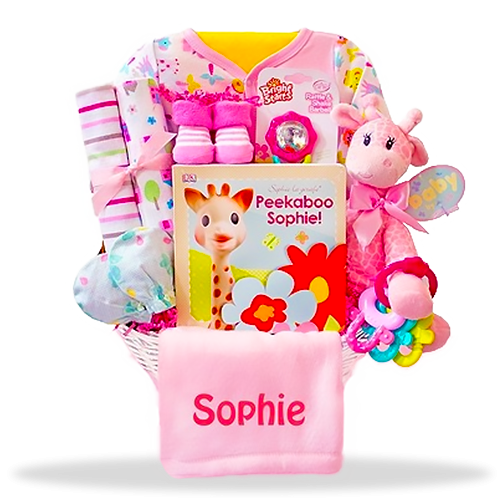 New Baby Gift Basket Usa : Baby girl s all pink giraffe gift basket usa delivery