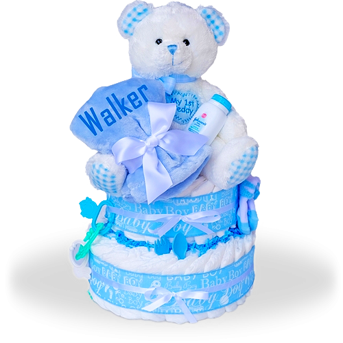 Baby Boy's First Teddy Two Tier Diaper Cake