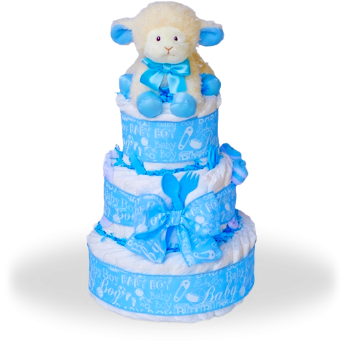 Baby Lamb Three Tier Diaper Cake-Boy