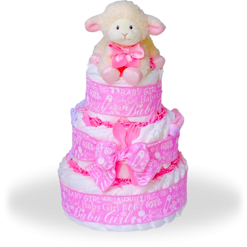 Baby Lamb Three Tier Diaper Cake-Girl