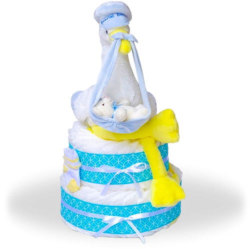 Right To Your Doorstep Delivery Two Tier Diaper Cake-Boy