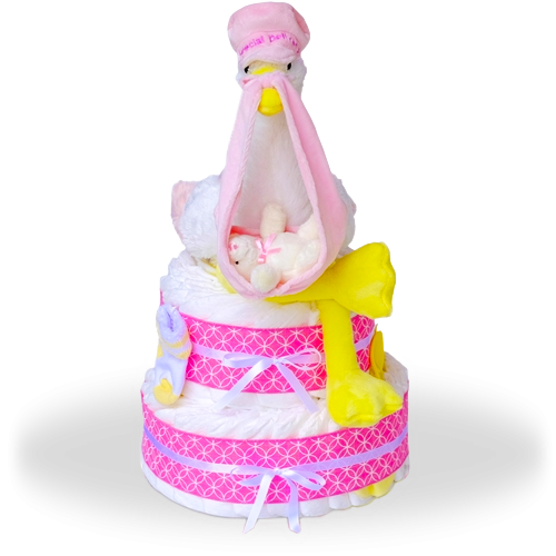 Right To Your Doorstep Delivery Two Tier Diaper Cake-Girl