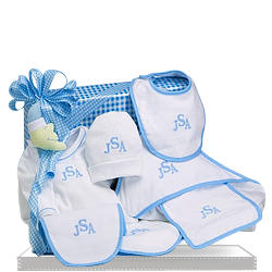Personalized Layette Cotton Only Baby Boy Gift Set