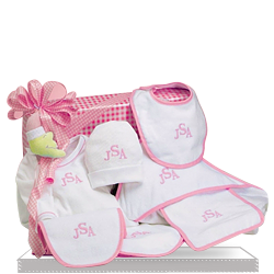 Personalized Layette Cotton Only Baby Girl Gift Set