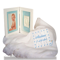Personalized Baby Blanket & Keepsake Frame Set for a Baby Boy