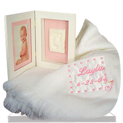 Personalized Baby Blanket & Keepsake Frame Set for a Baby Girl