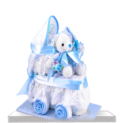 Plush Diaper Cake for Baby Boy Carriage Gift Set