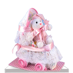 Plush Diaper Cake for Baby Girl Carriage Gift Set