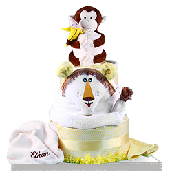 Deluxe Lion and Monkey Diaper Cake Baby Gift Personalized