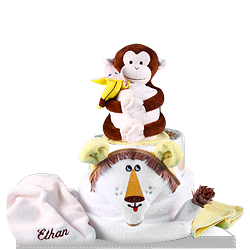 Personalized Plush Lion and Monkey Baby Gift