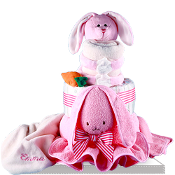 Buy Cute Personalized Pink Rabbit Diaper Cake for Baby Girl