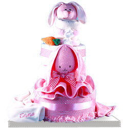 Find the Stunning Pink Rabbit Diaper Cake with Blanket for Baby Girl