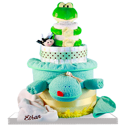 Plush Frog and Plush Turtle Diaper Cake Baby Gift Basket