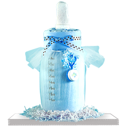 A Blanket Bottle Baby Boy Shower Gift Basket