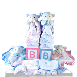 Twin Prince n Princess Gift Set with Cuddly Lambs