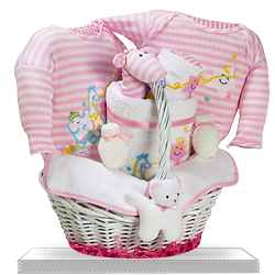 It's a Star Baby Girl Gift Basket with Plush Terry Bear