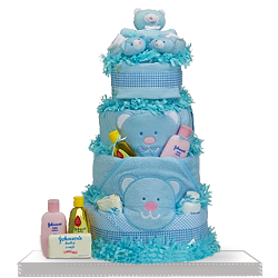 Unique Plush Teddy Bear Diaper Cake Gift for Baby Boy