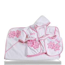 Find the Little Daisy Bath and Bib Gift Set for Baby Girl
