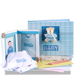 Send Keepsake Album & Photo Frame Baby Boy Gift Set