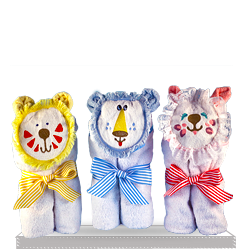 Baby Soft Hooded Character Towels Cat, Lion, Tiger