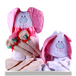 Hooded Rabbit Baby Towel Gift Set Personalized