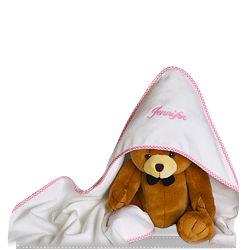 Personalized Hooded Towel with Plush Bear for Baby Girl