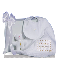 Personalized Christening Keepsake Baby Blanket Gift Set