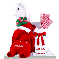 Personalized Christmas Outfit, Santa Hat, & Bib for Baby Girls