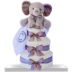 Diaper Cake with Gray Chevron Striped Plush Elephant