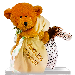 Personalized Gift Basket Brown Teddy Bear's Blanket