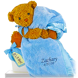 Personalized Baby Boy Bear's Favorite Baby Blanket Gift Set