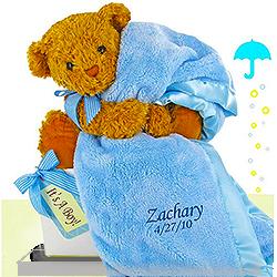 Baby Boy Bear's Favorite Personalized Blanket Gift Set