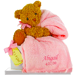 Send new baby gift baskets newborn baby baskets for boys and goldie bears little personalized pink blanket for girl negle Choice Image