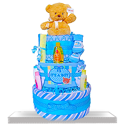 Gund Teddy Bear's Gift Basket Three Layers of Fun Diaper Cake for Boys