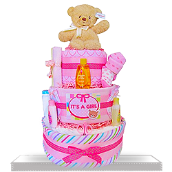 Gund Bear's Three Layers Gift Basket of Fun Diaper Cake for Girls