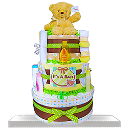 Gund Bear's Three Layers Gift Basket of Fun Diaper Cake Neutral
