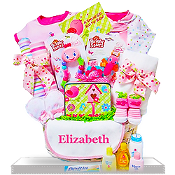 Newborn Baby Girl Personalized Gift Basket In the Pink