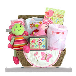 New Baby Girl Personalized Gift Basket with soft minky baby blanket