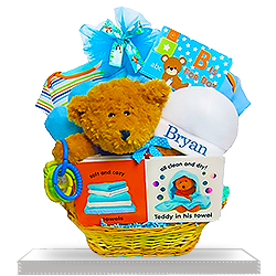 Welcome Baby Bear's Gift Basket for Boys