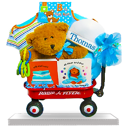 Bear and Books Baby Boy Radio Flyer Wagon
