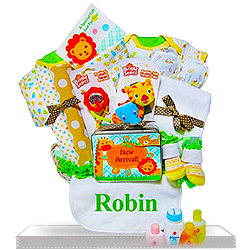 New Baby Neutral Gift Basket Fun Safari