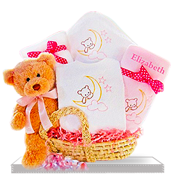 Beary Sweet Baby Girl's with Teddy Bear Gift Basket