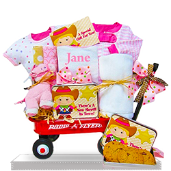 Radio Flyer Wagon the Littlest Cowgirl's Baby Gift Basket