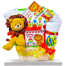 Bright Times Circus with Soft Lion Plush Gift Basket