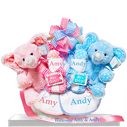 Send Love Times Two Twin Personalized Gift Basket
