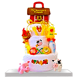 3 Tiered Diaper Cake Barnyard Bliss Extravaganza