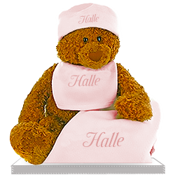 Girl's Betzy Gund Bear  with Personalized Fleece Blanket