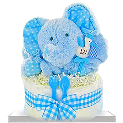 Smiling Plush Elephant's One Tier Diaper Cake for Boy