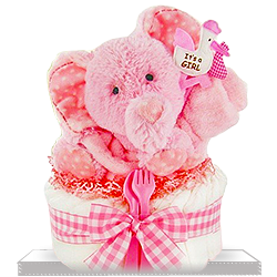 Smiling Plush Elephant's One Tier Diaper Cake for Girl