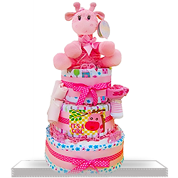 Diaper Cake Pink Giraffe for Baby Girl